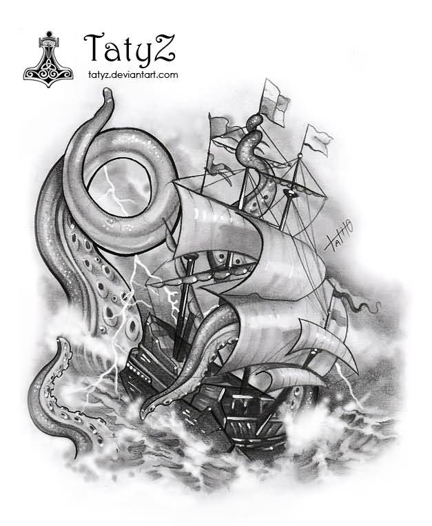 Amazing Kraken Tattoo Design By AwesomeAlton