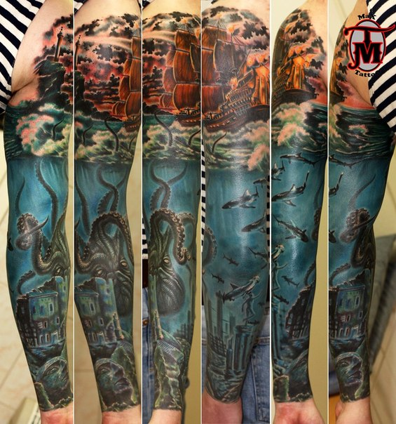 21+ Kraken Sleeve Tattoos