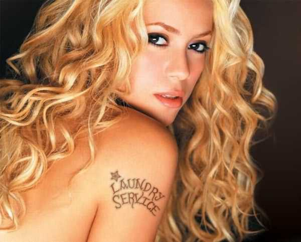 fff455c98 Laundry Serice Lettering Tattoo On Celebrity Shakira Right Shoulder