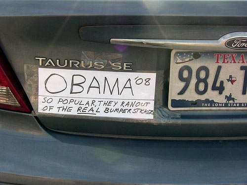 Obama so popular they ranout of the real funny car bumper sticker image