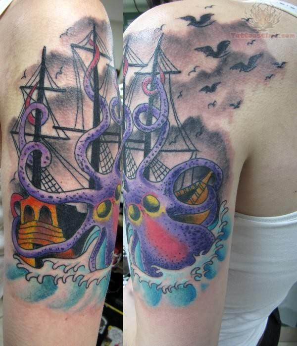 Octopus Ship Tattoo Sleeve 60+ Nice Octopus Ship ...