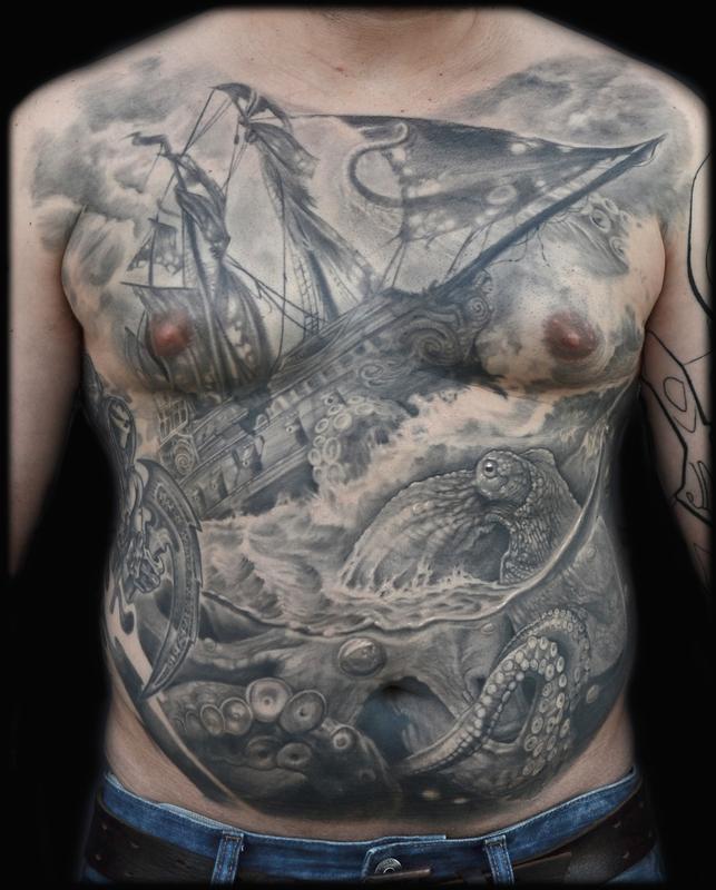 Realistic Octopus Tattoo 60+ Nice Octopus Ship ...