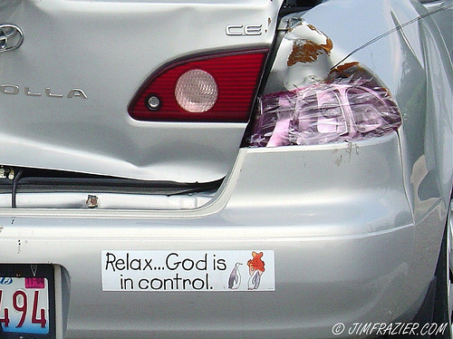 Relax god is in control funny car sticker image