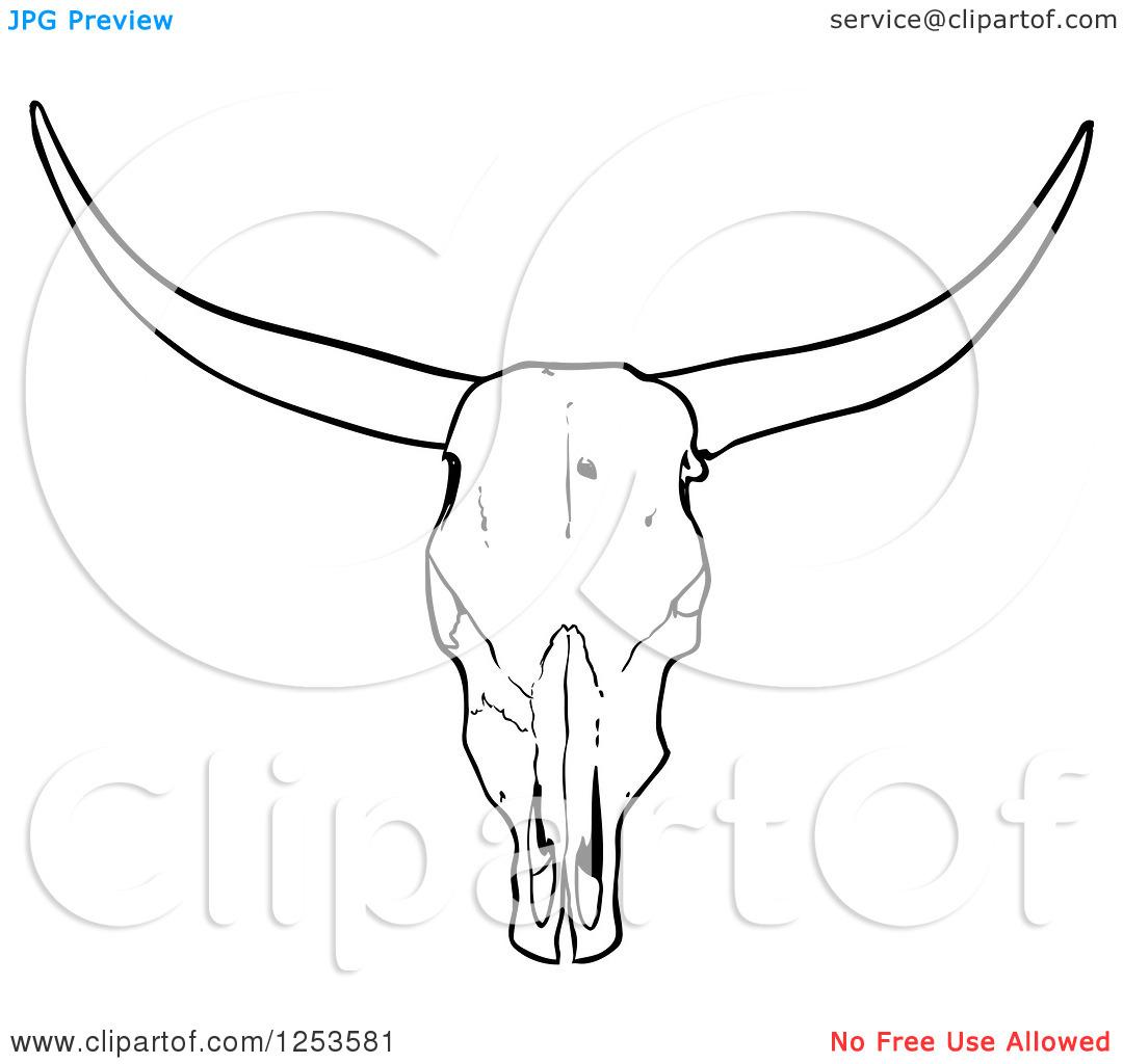 Simple skull tattoo designs - Simple Cow Skull Tattoo Stencil