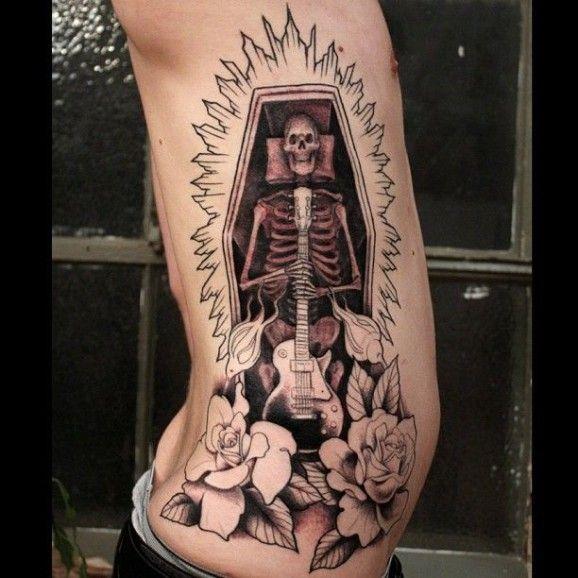 30 skeleton coffin tattoo for Barber neck tattoos