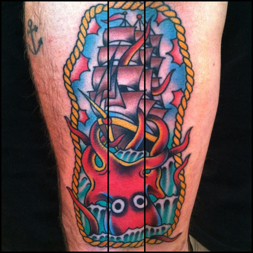 frame tattoo designs. Traditional Kraken Attacking Ship In Frame Tattoo Design Designs O