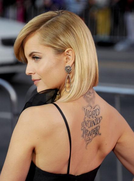 ef360bad6 Word Sound Power Lettering Tattoo On Celebrity Mena Suvari Upper Back