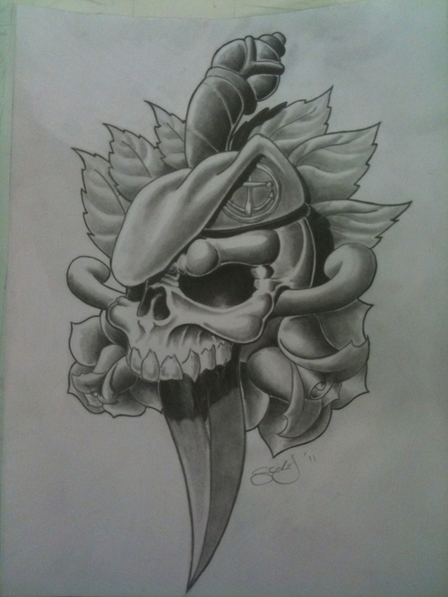 74694c850 3D Dagger In Army Skull With Flowers Tattoo Design