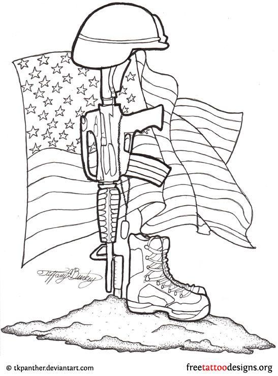 8f1736f1f Army Equipments With USA Flag Tattoo Stencil