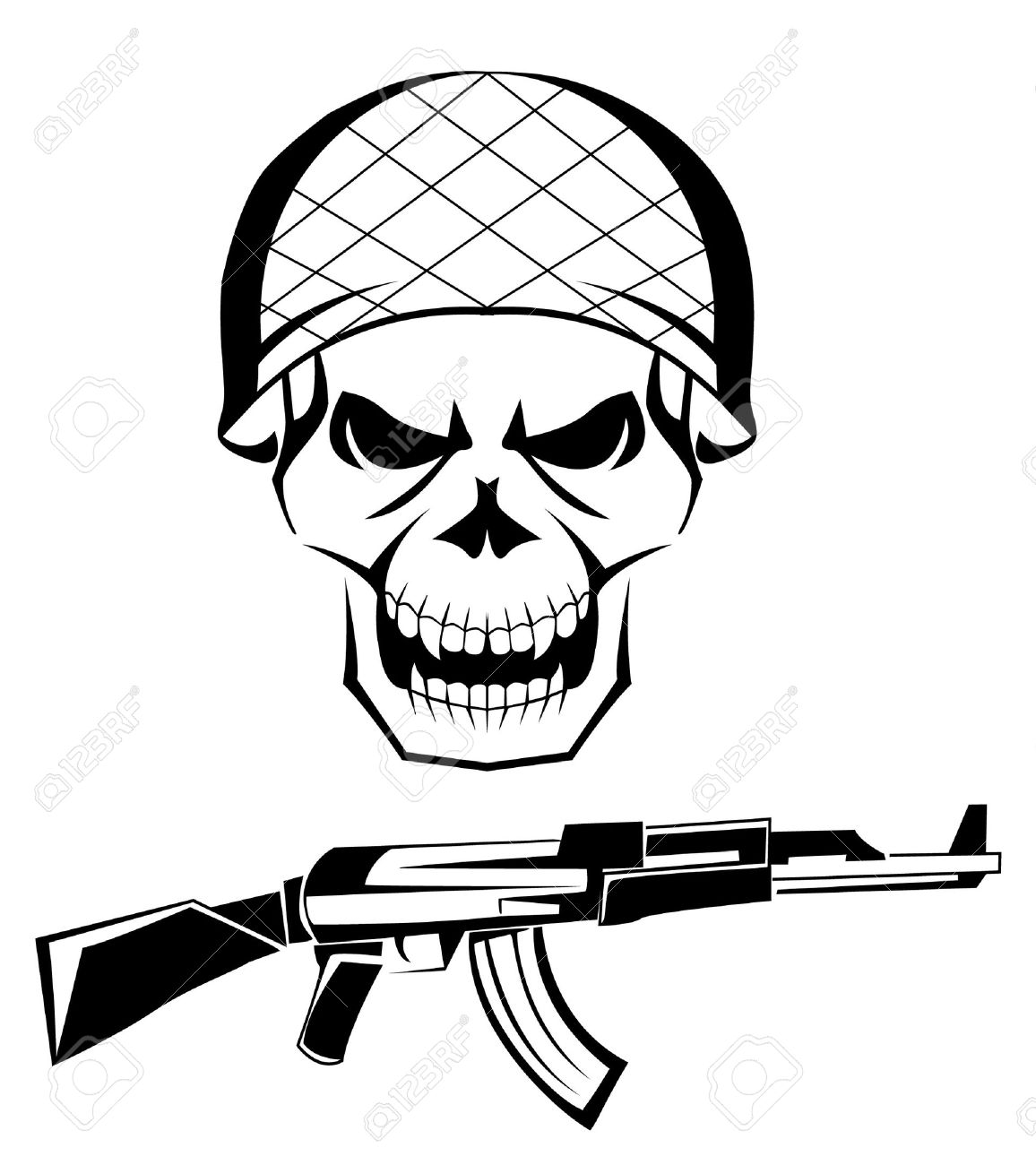 Drawings Easy Skull With Guns: 20+ Army Skull Tattoo Designs