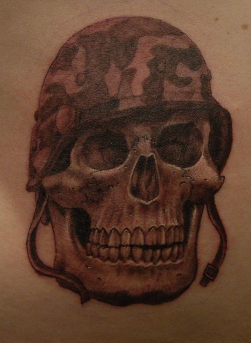 498694b43 Black Ink 3D Army Skull Tattoo Design