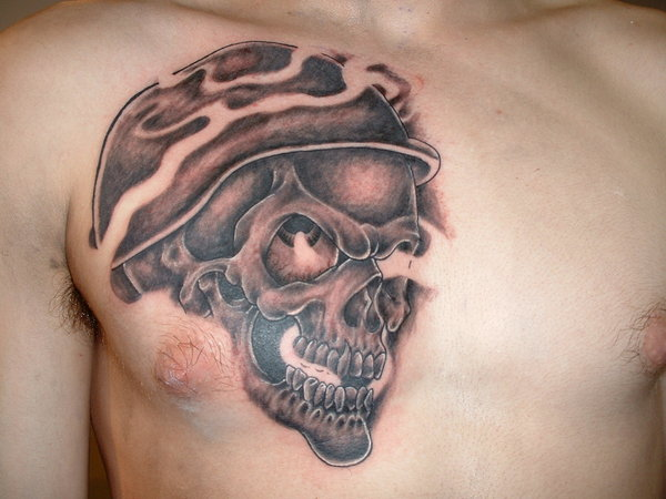 c09187919 Black Ink 3D Army Skull Tattoo On Man Chest