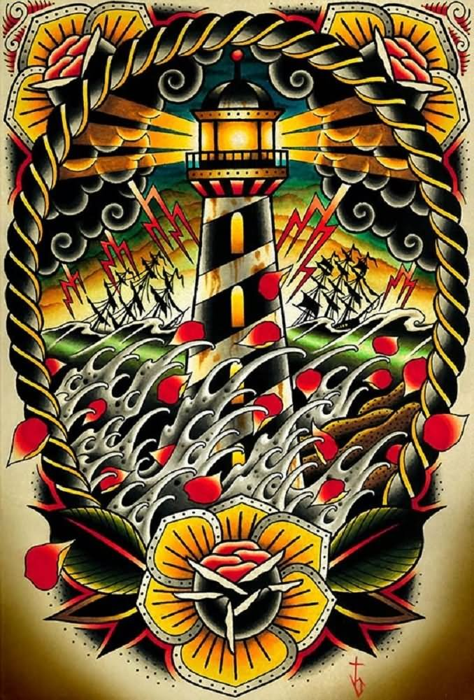 Lighthouse American Traditional Tattoo