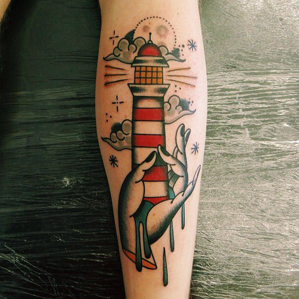 45 neo traditional lighthouse tattoos. Black Bedroom Furniture Sets. Home Design Ideas
