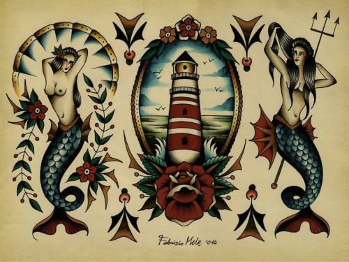 Neo Traditional Mermaid Tattoo: 16+ Latest Neo Traditional Lighthouse Tattoos