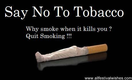 say no to tobacco essay The use of alcohol, tobacco and other drugs has detrimental effects on health of   and so on this is to say that drugs are not of easy access because they are  illegal  it is detoxified by the liver and therefore does little or no harm to the  body.