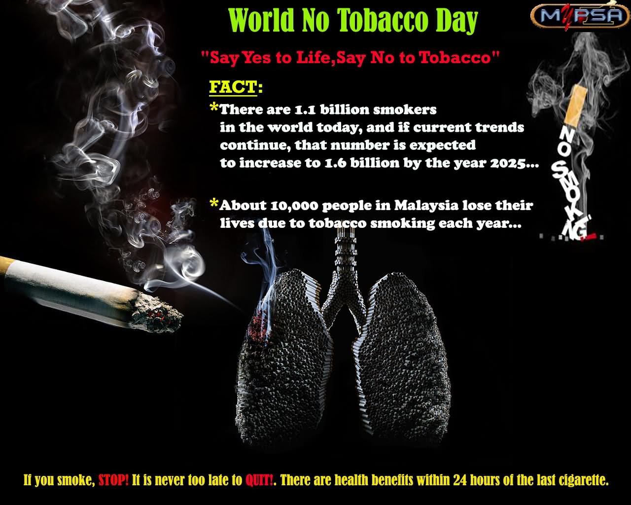 beautiful world no tobacco day wish pictures and images world no tobacco day say yes to life say no to tobacco