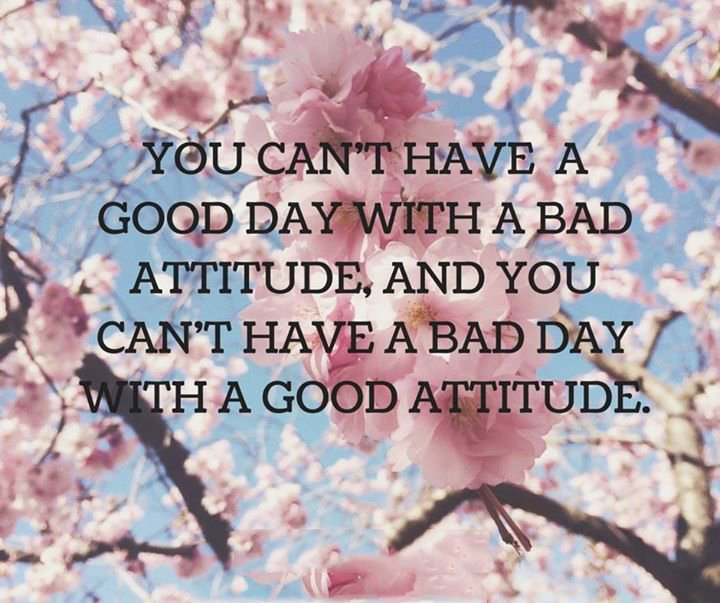 Quotes About People Who Notice: You Can't Have A Good Day With A Bad Attitude, And You Can