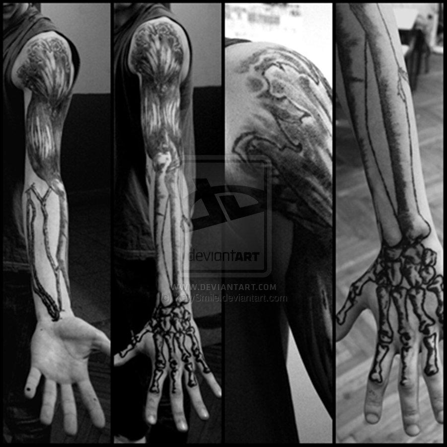 Forearm bone tattoo