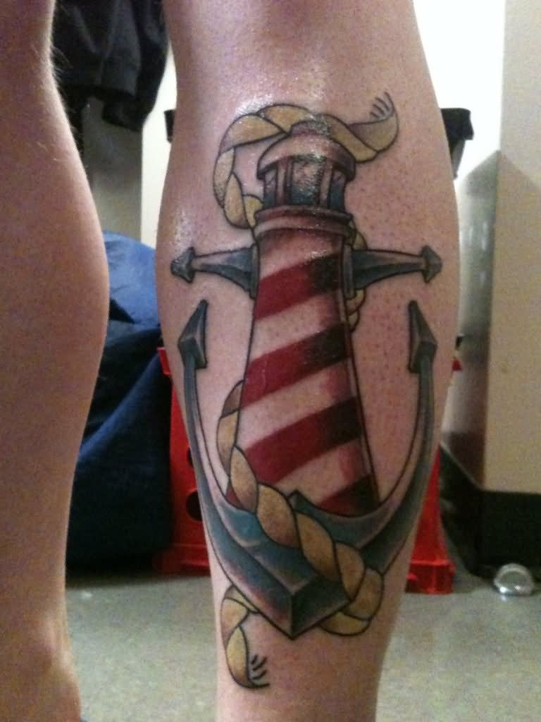 deab174bf7074 35+ Awesome Lighthouse Tattoos On Legs