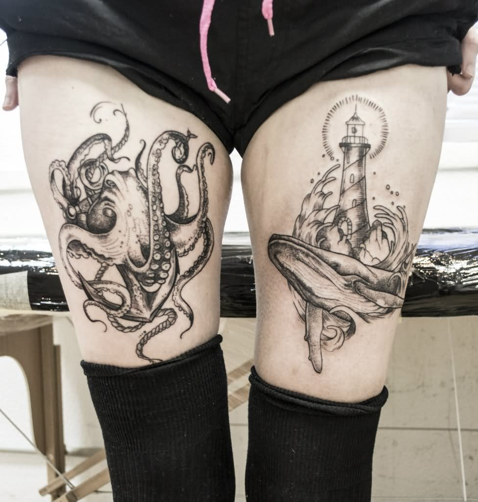 b6d0391ab Anchor Octopus And Lighthouse Tattoos On Both Thigh