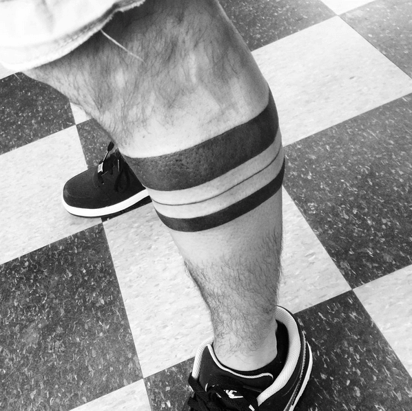 Attractive Solid Band Tattoo On Leg