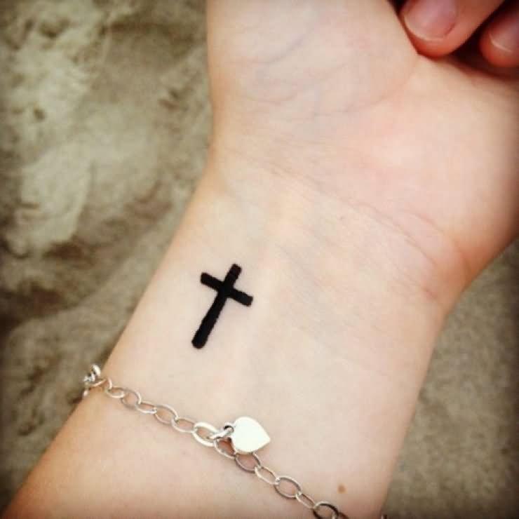 51ede767235c3 Black Christian Cross Tattoo On Wrist