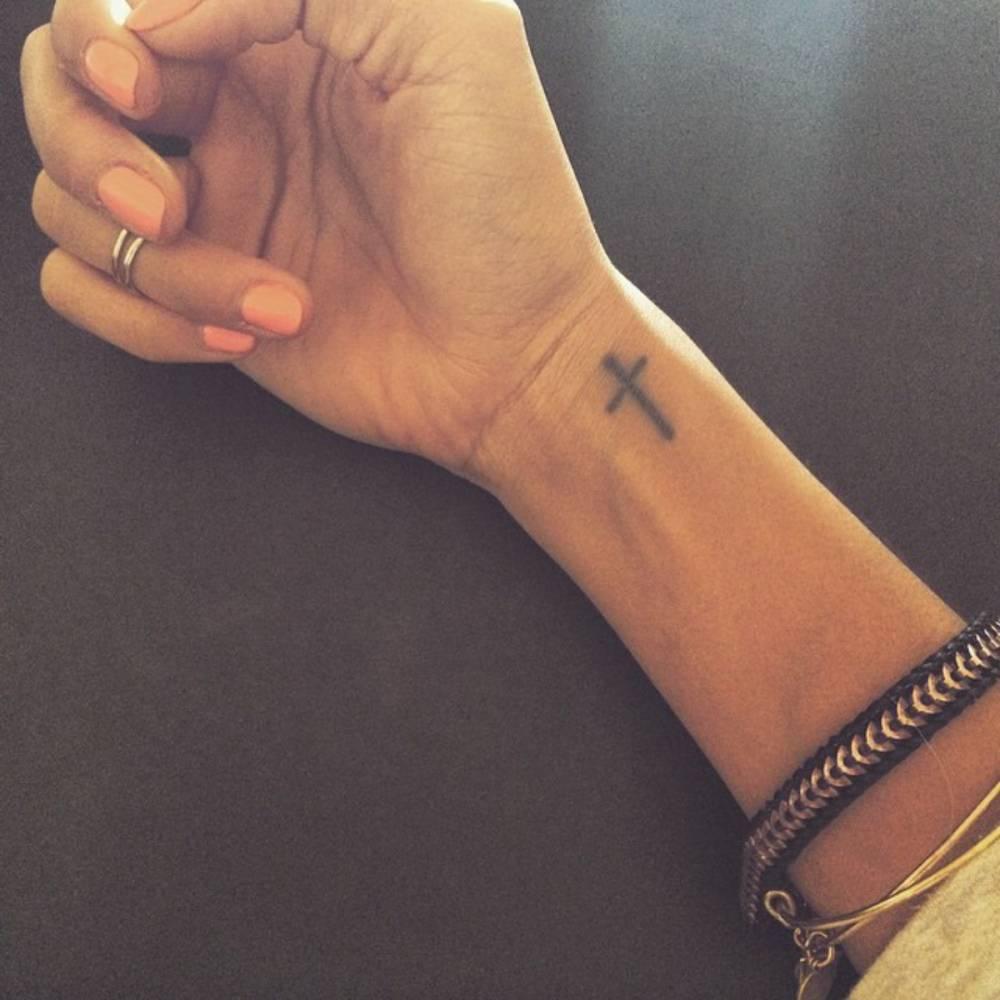fbfee66a1884a Black Little Christian Cross Tattoo On Girl Wrist