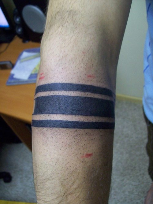 Black Solid Band Tattoo On Forearm