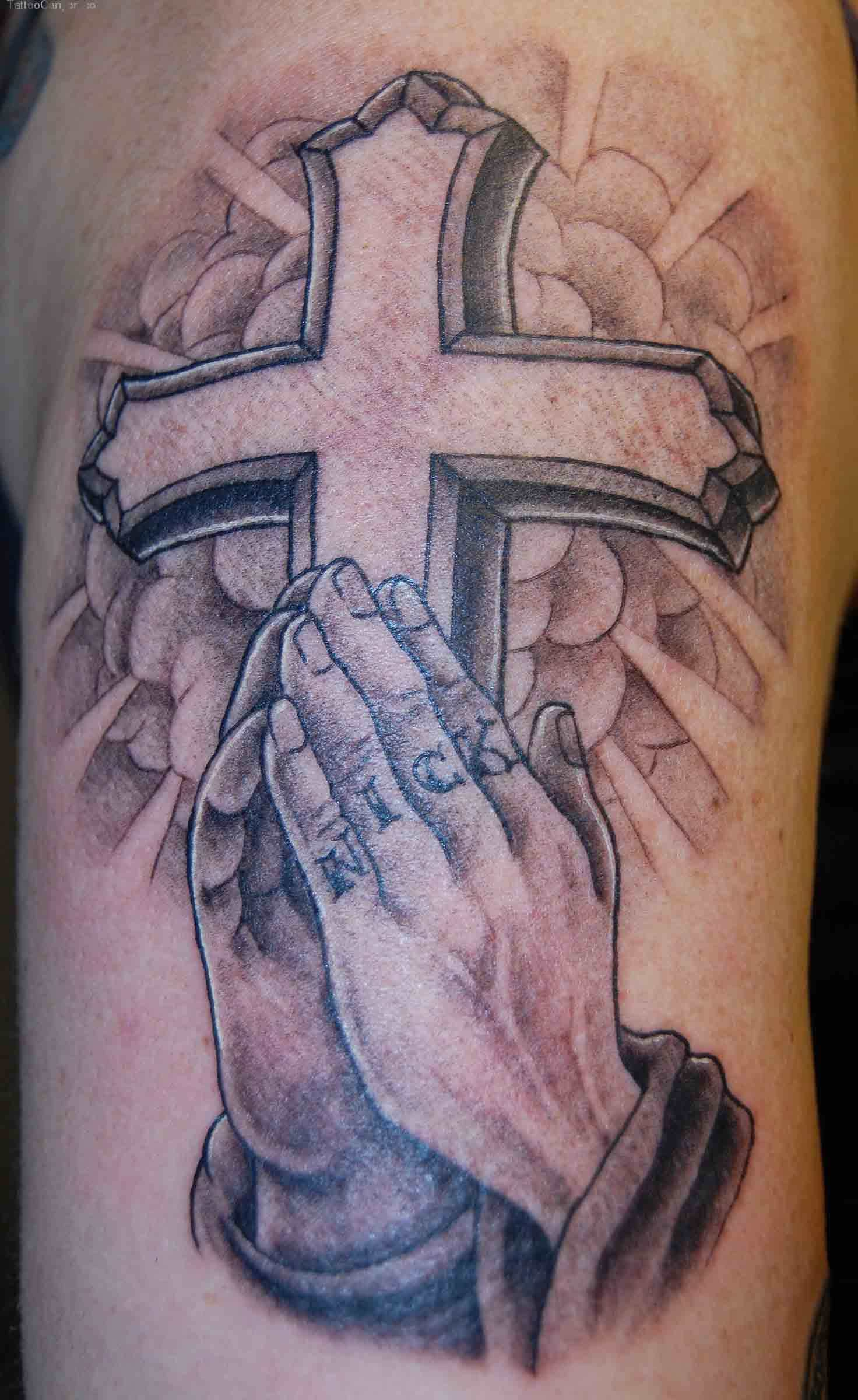 40 amazing religious christian tattoos christian cross with praying hand tattoo design for half sleeve buycottarizona
