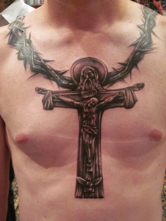 3129996e8 Christian Jesus On Cross Tattoo On Man Chest