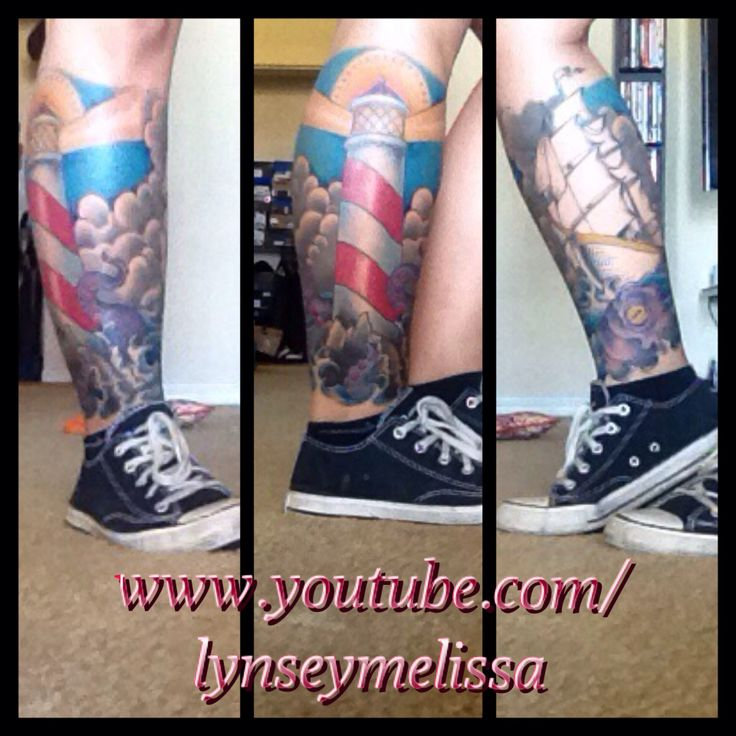 4d38a61c4 Color Ink Ship and Lighthouse Tattoo On Man Side Leg