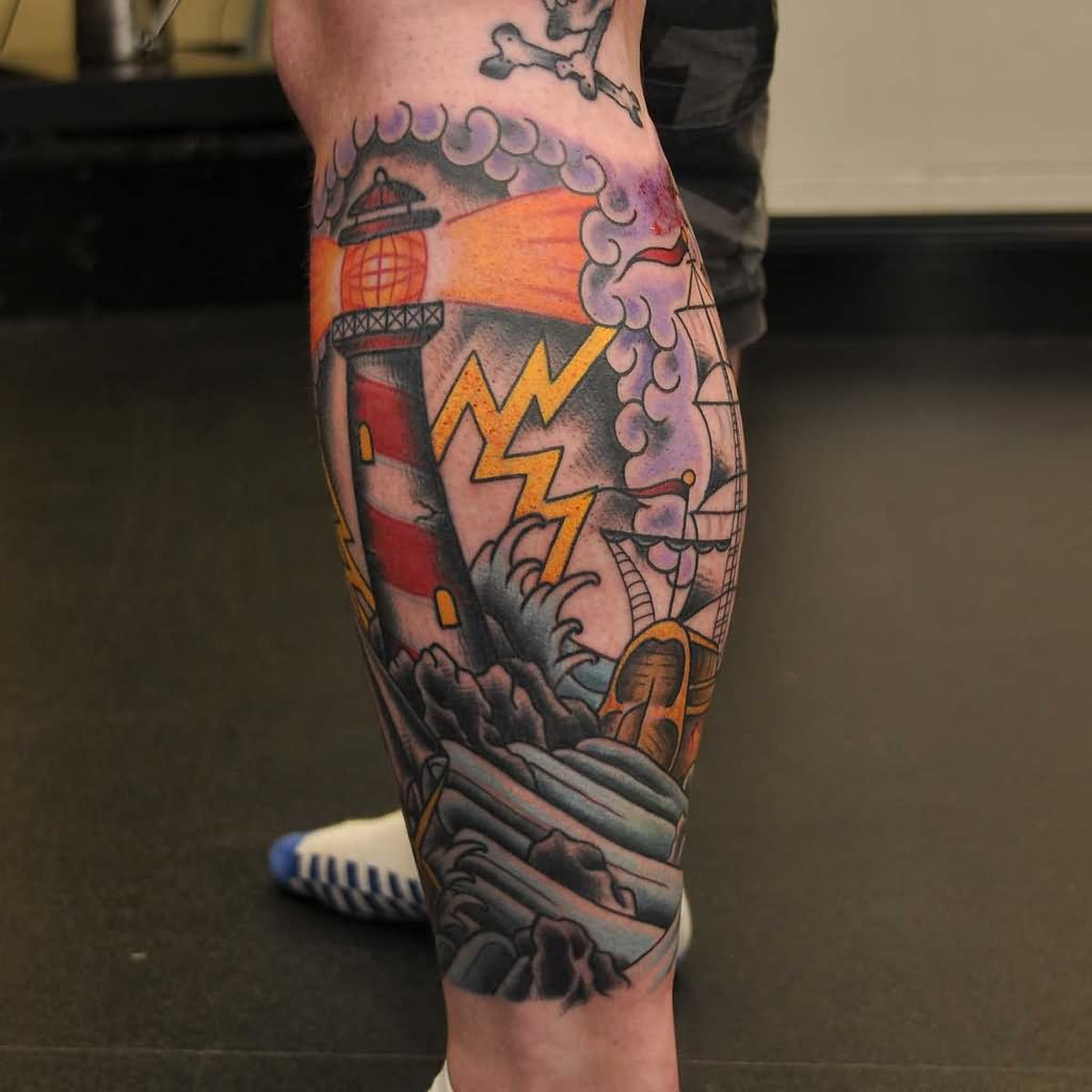 3dc9b82fa647c Color Lighthouse Tattoos On Side Leg by Stand Pround Tattoo