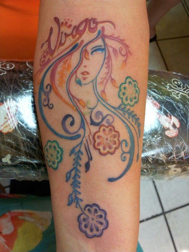 5e61161ed Colorful Virgo Girl Tattoo On Forearm