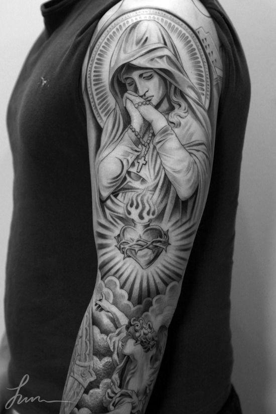 35 christian tattoos on full sleeve. Black Bedroom Furniture Sets. Home Design Ideas