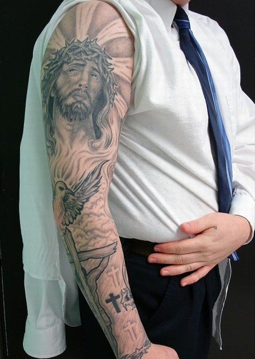 35 christian tattoos on full sleeve. Black Bedroom Furniture Sets. Home Design Ideas
