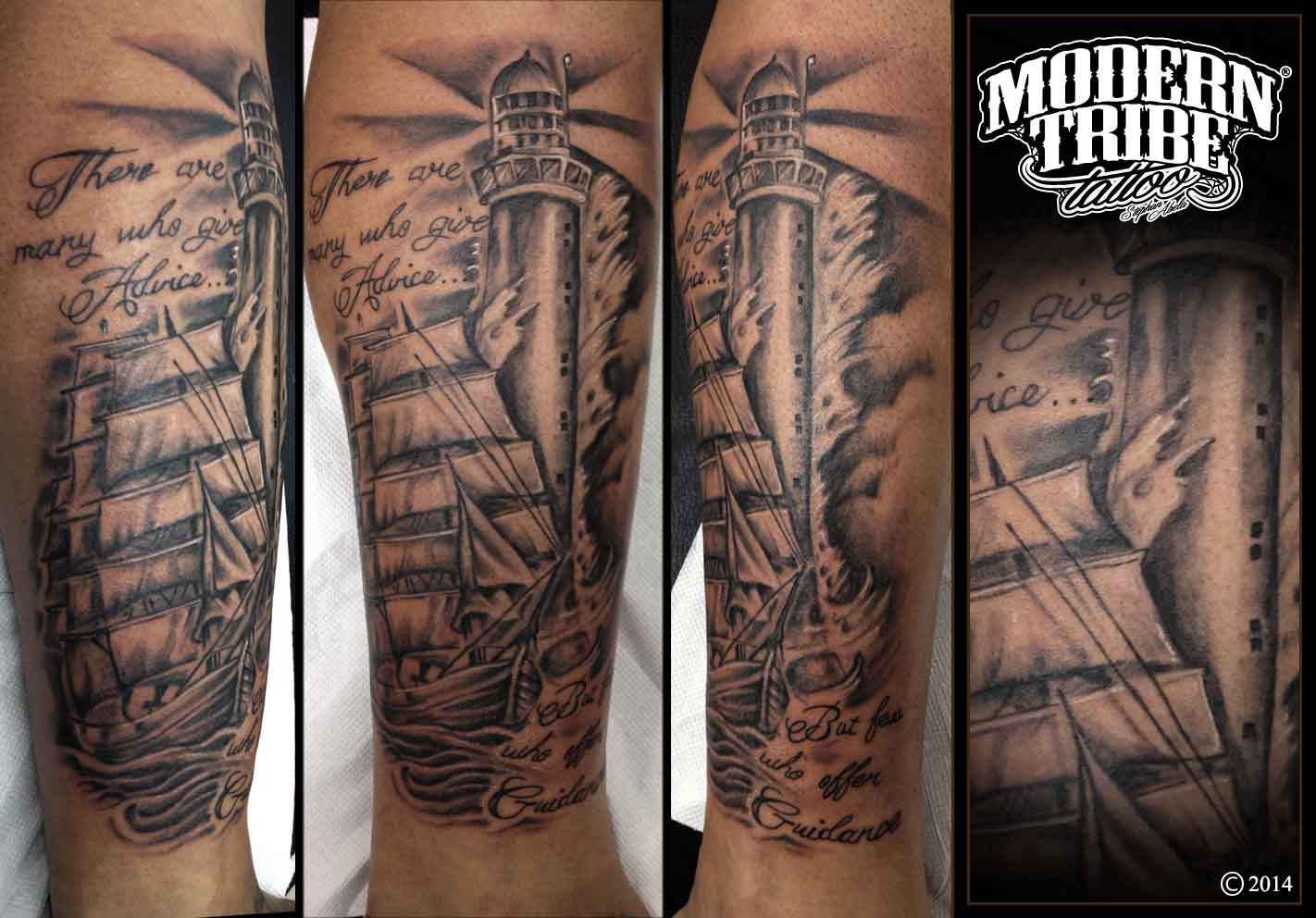 1a2066214 Grey Ship And Lighthouse Tattoo On Leg