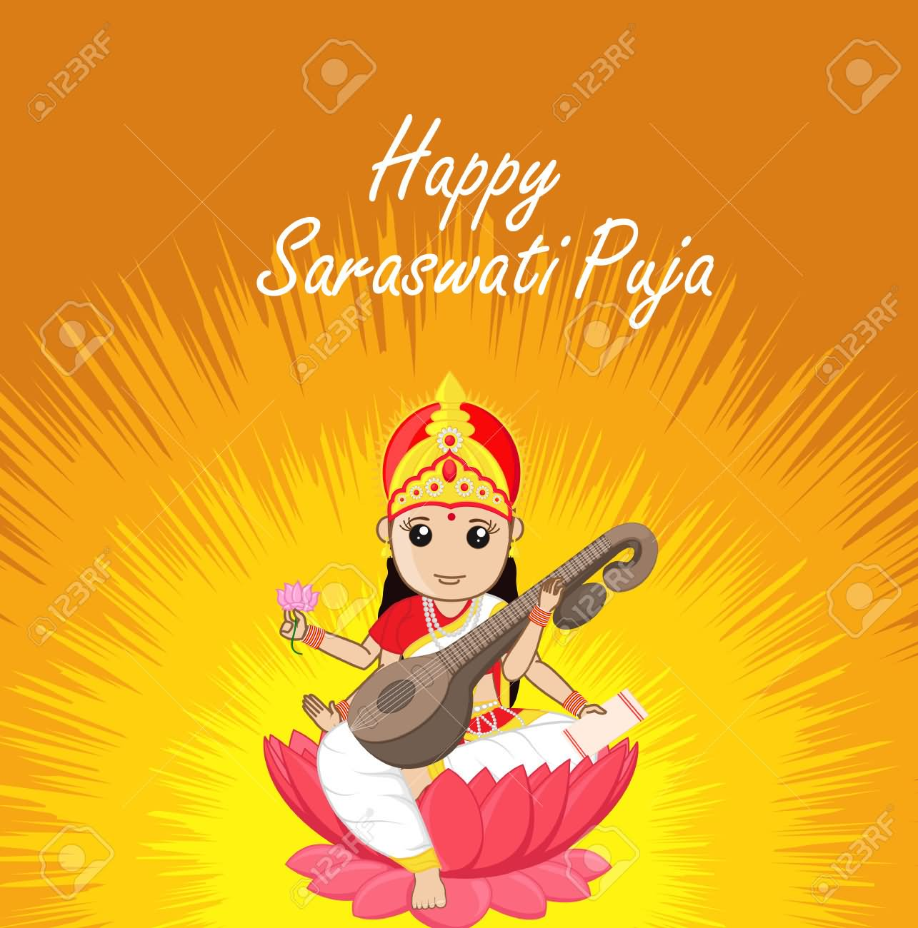 22 Most Adorable Saraswati Puja Greeting Pictures And Photos