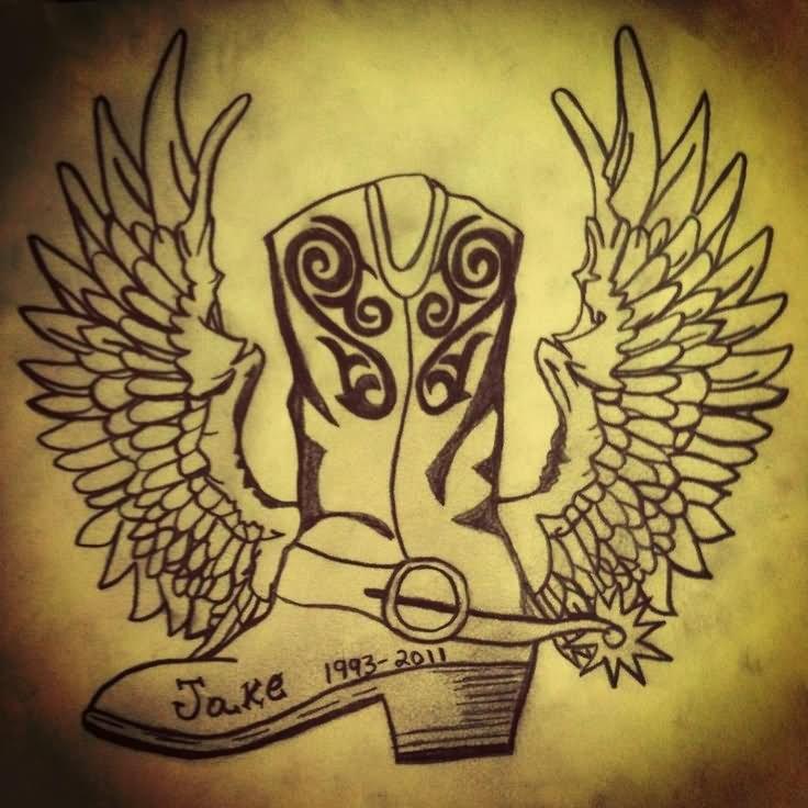 Traditional Cowboy Skull Tattoo