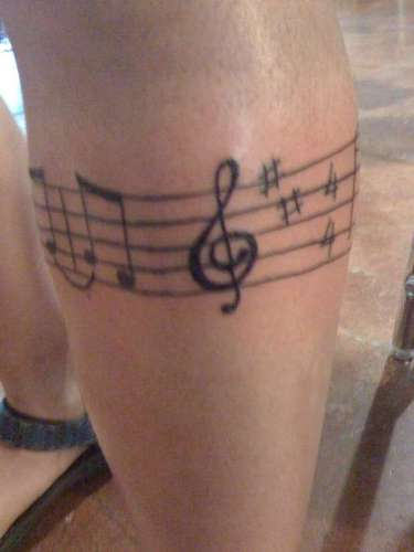7 famous music band tattoos for Thigh band tattoos for females