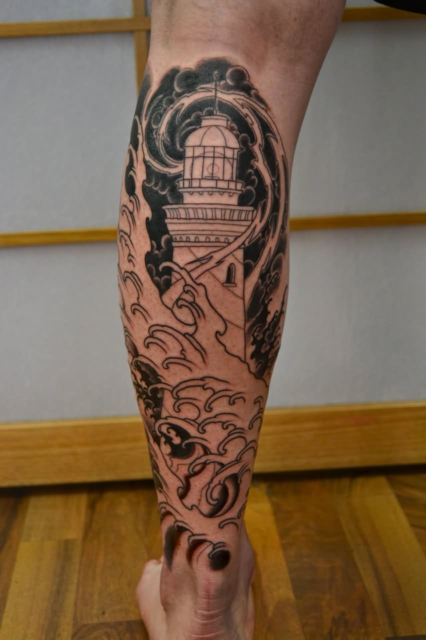 bb24406b6 35+ Awesome Lighthouse Tattoos On Legs