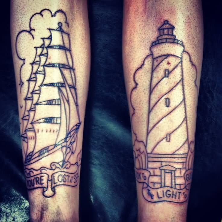 0a55937a6 Outline Ship And Lighthouse Tattoos On Legs