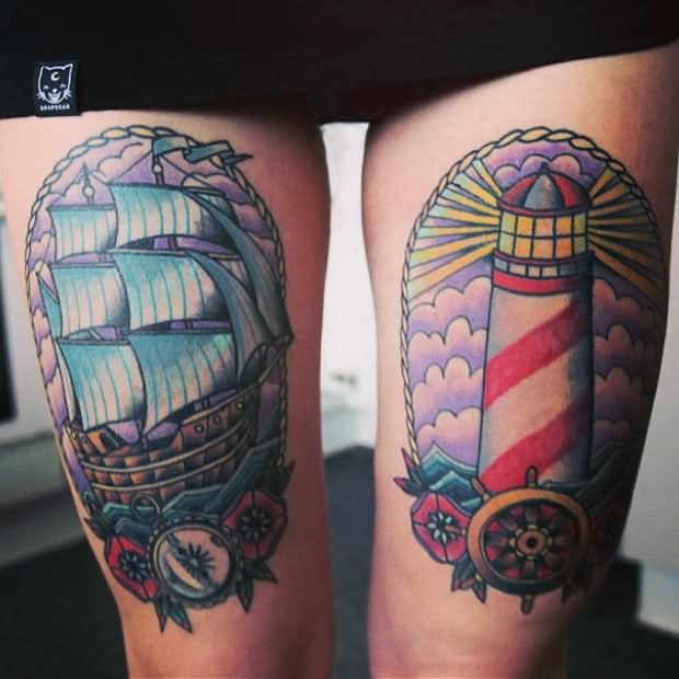 be3c59029 Sailing Ship and Lighthouse Tattoos On Thigh Legs