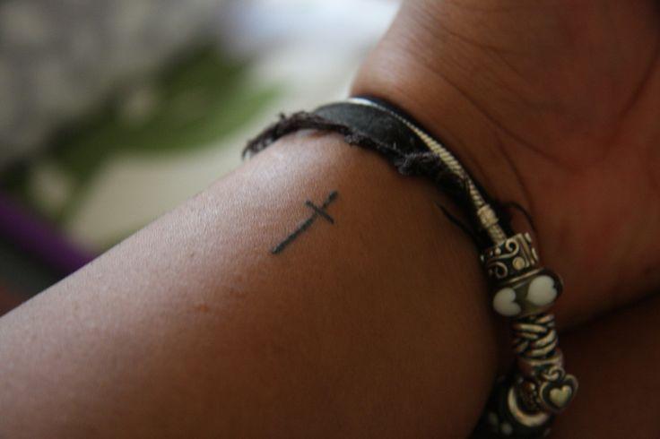 ba3325cb10eb1 Simple Christian Cross Tattoo On Side Wrist