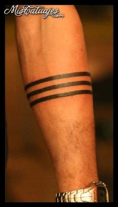 Three Solid Band Tattoo On Forearm
