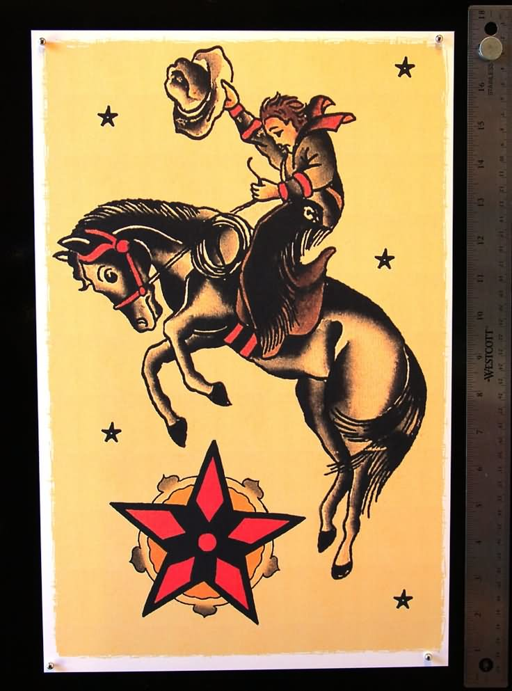 35 wonderful cowboy horse tattoos for Horse tattoo traditional