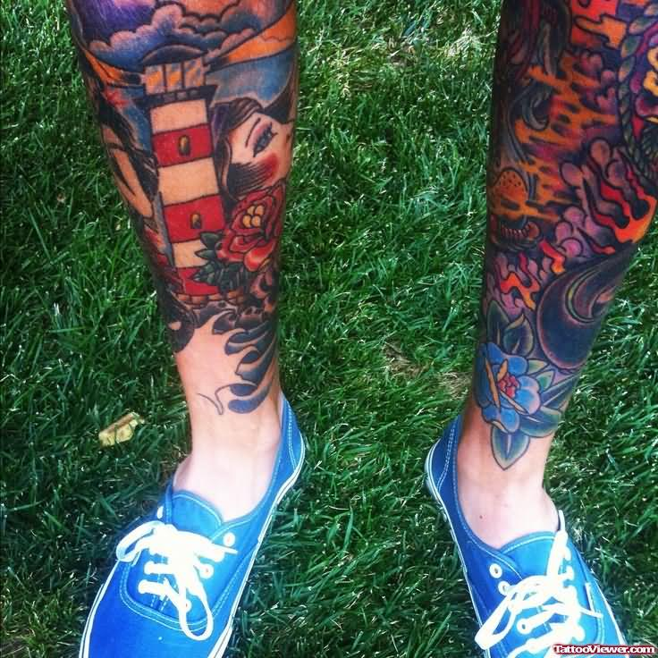 35 awesome lighthouse tattoos on legs