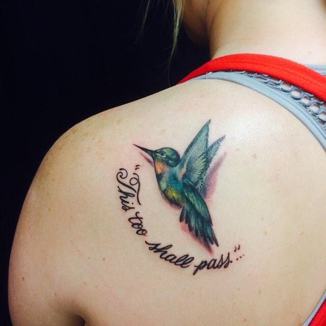 8b0d84c4277bb 18+ Beautiful Hummingbird Back Shoulder Tattoos