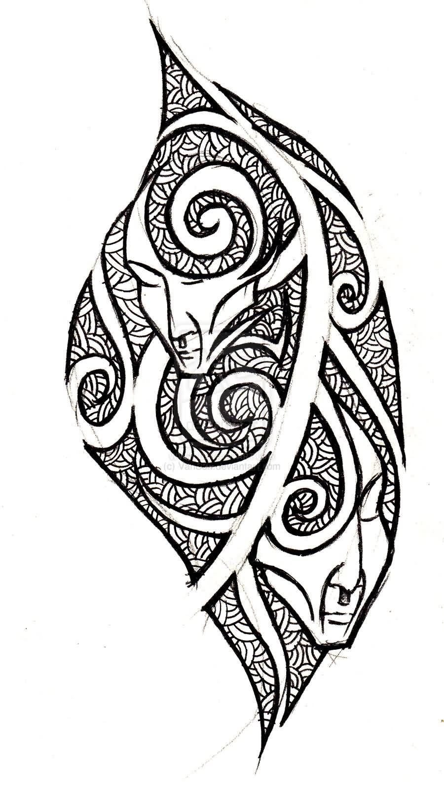 25 tribal gemini tattoos designs and ideas. Black Bedroom Furniture Sets. Home Design Ideas
