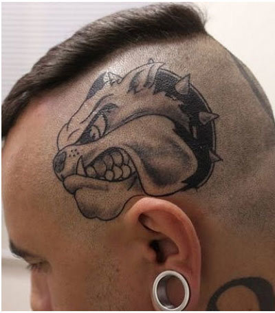 Angry bulldog tattoo on man head for Tattoo of my dog